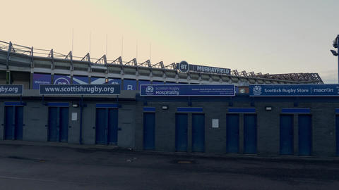 Murrayfield stadium in Edinburgh - home of rugby and football - EDINBURGH Live Action