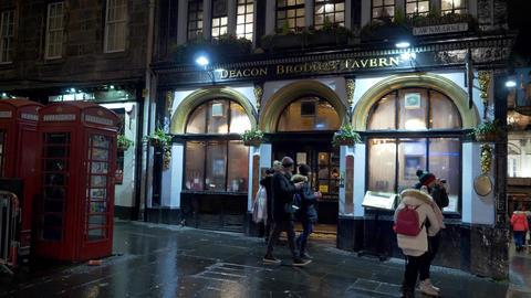 Deacon Brodies Tavern at Edinburgh Royal Mile - EDINBURGH, SCOTLAND - JANUARY 10 Live Action