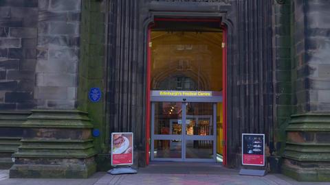 Edinburgh Festival Centre in the historic district - EDINBURGH, SCOTLAND - Live Action