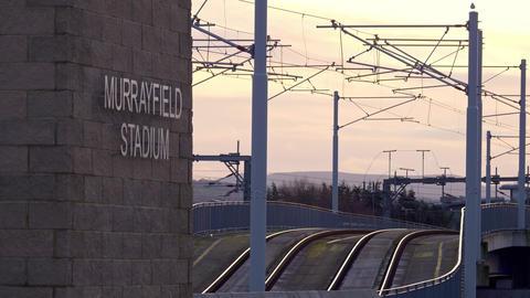 Tram tracks in the city of Edinburgh - EDINBURGH, SCOTLAND - JANUARY 10, 2020 Live Action