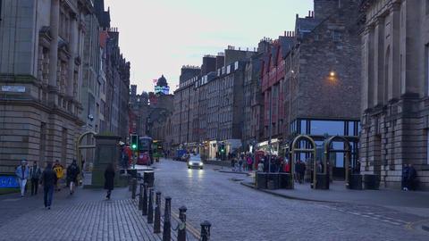 Famous Royal Mile in Edinburgh - EDINBURGH, SCOTLAND - JANUARY 10, 2020 Live Action