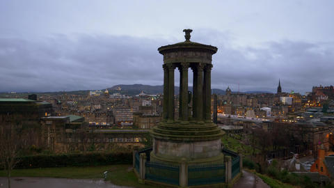 Amazing view over Edinburgh from Calton Hill in the evening - EDINBURGH Live Action