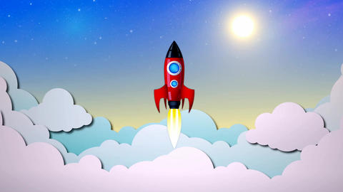 Rocket flight in the sky Live Action