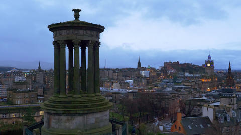Amazing view over Edinburgh from Calton Hill in the evening Live Action