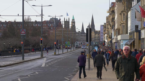 Street view Princes Street in Edinburgh - EDINBURGH, SCOTLAND - JANUARY 10, 2020 Live Action