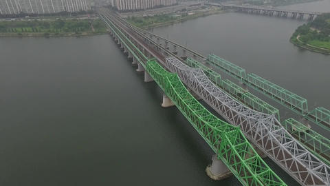Seoul Yeouido Hangang Railroad bridge Footage