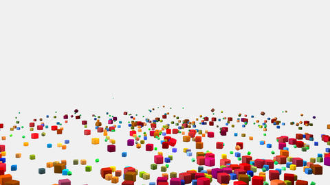 Colorful Falling Cubes Blocks on a White Background Animation