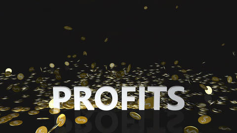Profits Concept with Gold Coins Falling From the Sky Animation