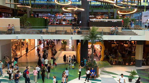 Timelapse Of People Crowd Rush For Shopping In Luxury Mall Interior Live Action