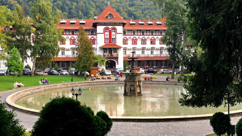 Hotel Caraiman Is One Of The Largest And Oldest Hotels In Sinaia City Of Carpath Footage