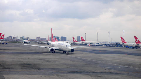 Istanbul airport. Turkish Airlines aircraft. Istanbul, Turkey Footage
