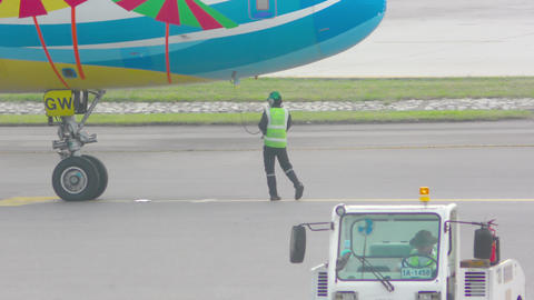 Airplane preparing to take off Footage