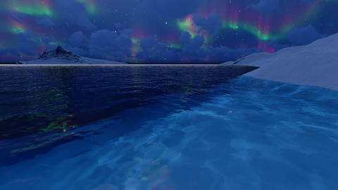 Sea northern lights on dark background. Arctic, alaska, canada, north pole Live Action