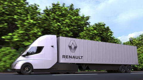 Electric semi-trailer truck with RENAULT logo on the side. Editorial loopable 3D GIF