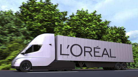 Electric trailer truck with L'OREAL logo on the side. Editorial loopable 3D GIF