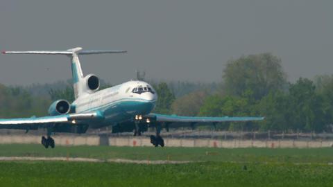 Kazakhstan Tupolev 154 landing GIF