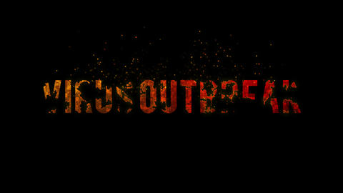 Virus outbreak text with the disintegration effect, animation on the dark background with dark and Live Action