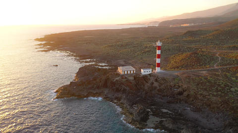 View from the height of the lighthouse Faro de Rasca, nature reserve and Acción en vivo