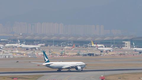 Airplane departure from International Airport, Hong Kong GIF