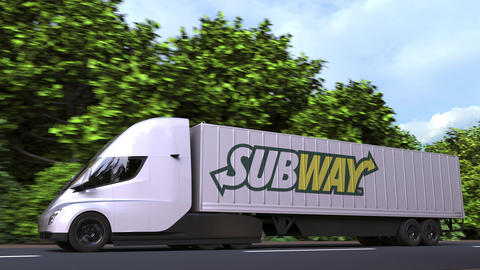 Electric semi-trailer truck with SUBWAY logo on the side. Editorial loopable 3D GIF