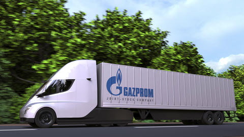 Electric semi-trailer truck with Gazprom logo on the side. Editorial loopable 3D GIF