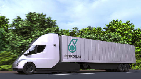 Electric semi-trailer truck with PETRONAS logo on the side. Editorial loopable GIF