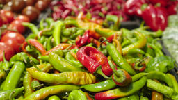 Fresh Raw hot green pepper in a counter of market GIF