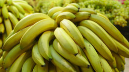 Fresh Raw bananas in a counter of market GIF
