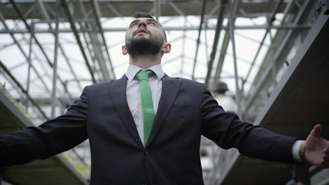 Bottom view of young confident Caucasian man in suit looking up and spreading Live Action