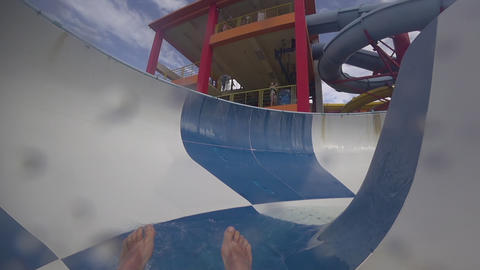 Fun down the water slide Live Action