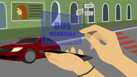 2D animation, Caucasian hand holding smartphone with hologram Bus schedule Live Action