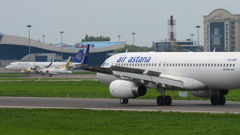 Air Astana Airbus A320 taxiing GIF