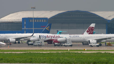 Airplanes in Almaty International Airport GIF