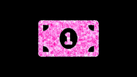 Symbol money bill one shimmers in three colors: Purple, Green, Pink. In - Out loop. Alpha channel Animation