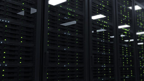Data center with working rack servers that are used for big data and cloud computing services Live Action