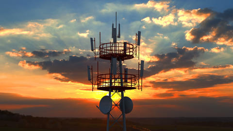Aerial view of the top of telecommunication tower against scenic sunset Live Action