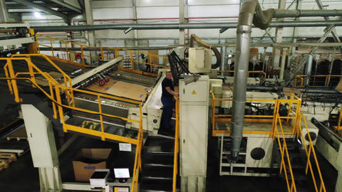 conveyor bends and transports cardboard sheets at plant Live Action
