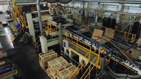 production line operates with cardboard sheets in workshop Live Action