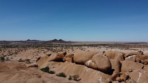 Drone footage of the beautiful nature of Namibia, desert with huge rocks Live Action