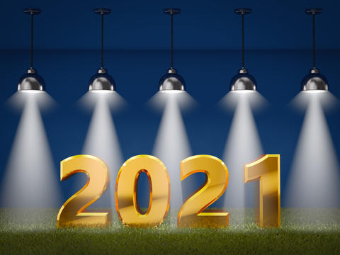 2021 on a grass with spotlights Photo