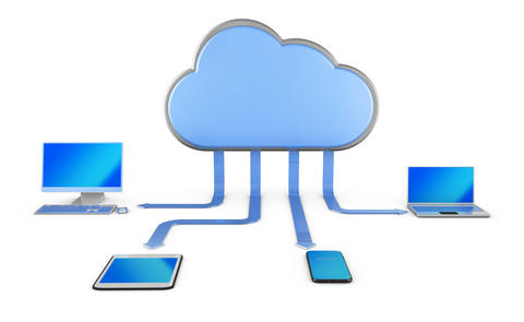cloud with arrows and computers Photo
