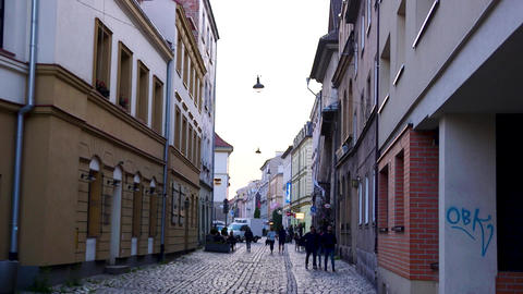 Street in the European historic city Live Action