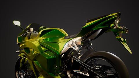 moto sport bike in dark studio with bright lights Live Action