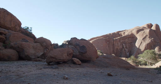 Beautiful rocks in the desert region Erongo of Namibia, mountains, sunny, 4k Live Action