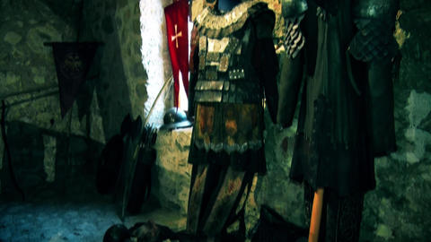 Knight suit in a castle from the Middle Ages GIF