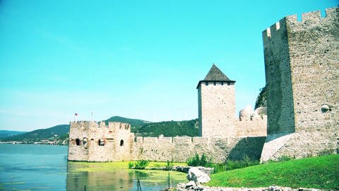 Old reconstructed beautiful castle by the river Danube GIF