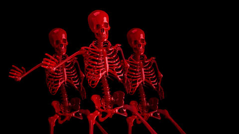 Red Skeletons In A Group Animation