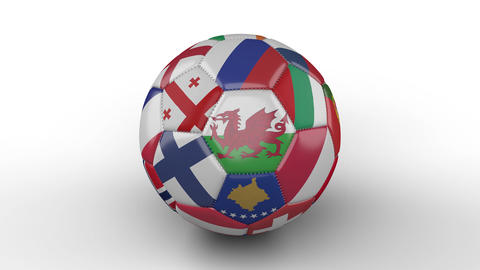 Soccer ball with flags of European countries rotates on white surface, loop 3 Animation
