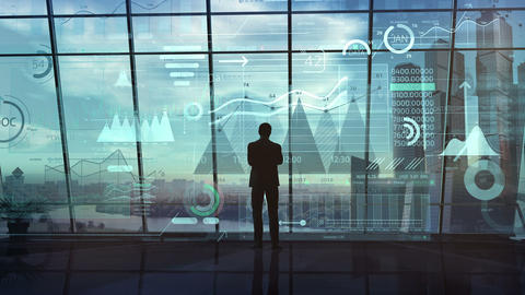 Businessman works with big data in a big office Animation