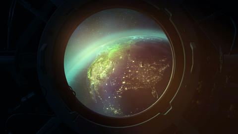 Globe from the porthole of a spaceship Animation